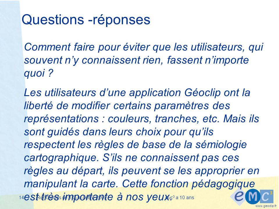 www.geoclip.fr Rencontres de SIG-la-Lettre 2009e M c 3 a 10 ans14 Questions -réponses Comment faire pour éviter que les utilisateurs, qui souvent ny connaissent rien, fassent nimporte quoi .