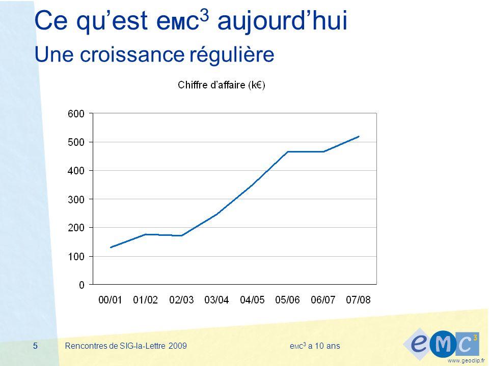 www.geoclip.fr Rencontres de SIG-la-Lettre 2009e M c 3 a 10 ans555 Ce quest e M c 3 aujourdhui Une croissance régulière