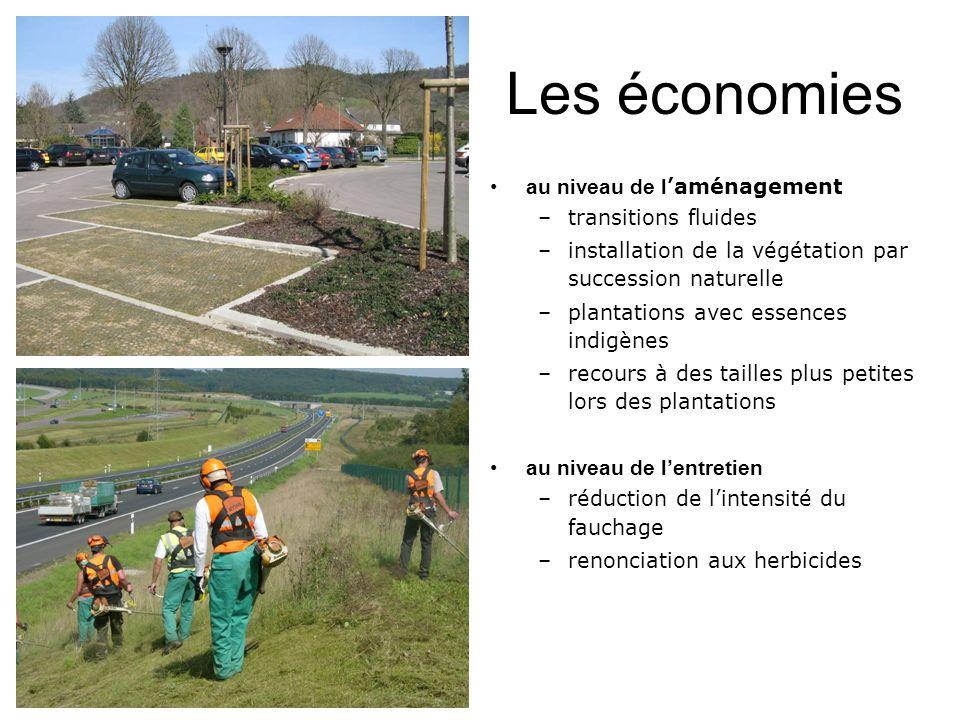 Les économies au niveau de l aménagement –transitions fluides –installation de la végétation par succession naturelle –plantations avec essences indig