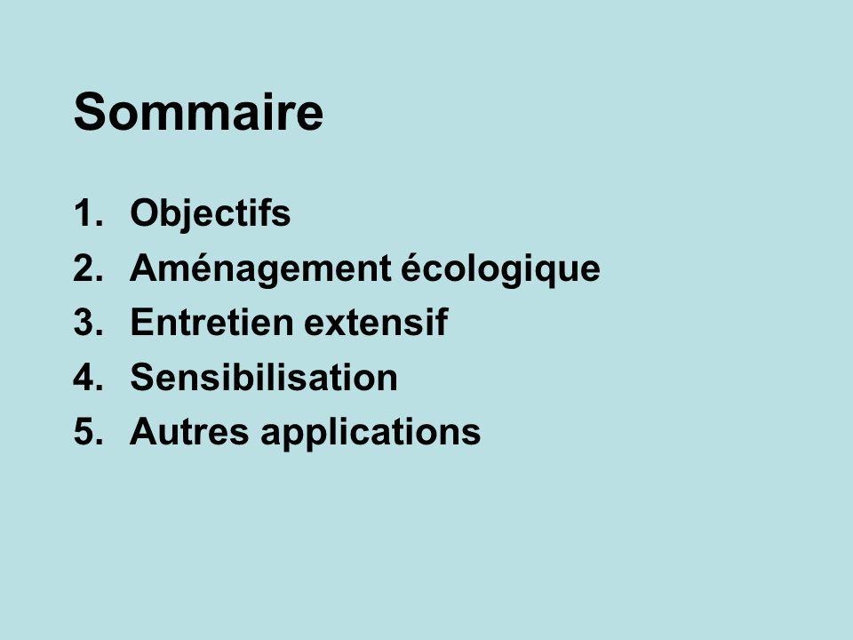 Sommaire 1.Objectifs 2.Aménagement écologique 3.Entretien extensif 4.Sensibilisation 5.Autres applications