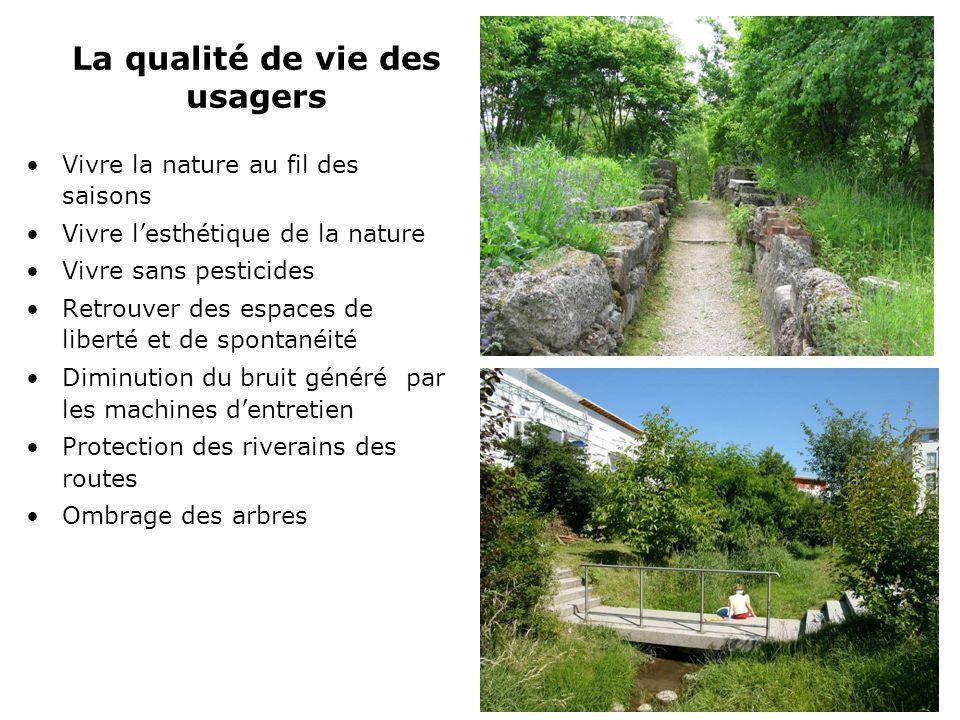 La qualité de vie des usagers Vivre la nature au fil des saisons Vivre lesthétique de la nature Vivre sans pesticides Retrouver des espaces de liberté