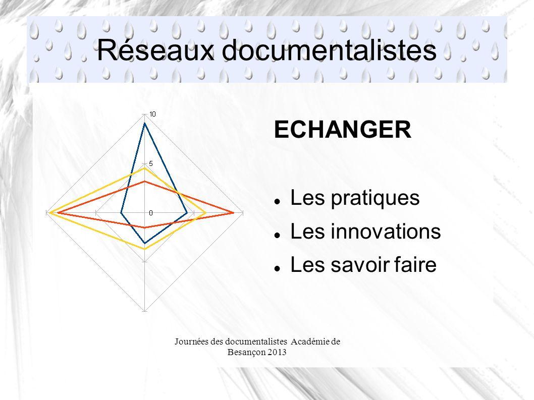 Journées des documentalistes Académie de Besançon 2013 Réseaux documentalistes ECHANGER Les pratiques Les innovations Les savoir faire