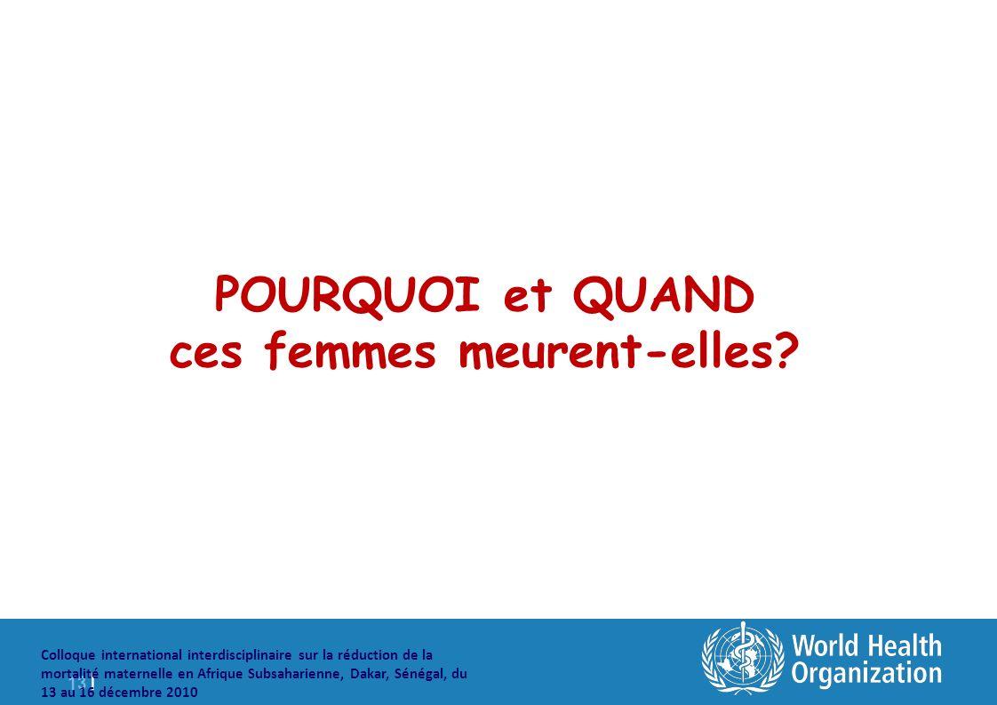 13 | Colloque international interdisciplinaire sur la réduction de la mortalité maternelle en Afrique Subsaharienne, Dakar, Sénégal, du 13 au 16 décembre 2010 POURQUOI et QUAND ces femmes meurent-elles?