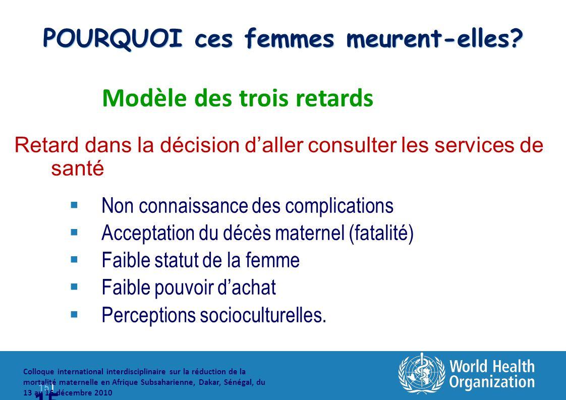 15 | Colloque international interdisciplinaire sur la réduction de la mortalité maternelle en Afrique Subsaharienne, Dakar, Sénégal, du 13 au 16 décembre 2010 15 POURQUOI ces femmes meurent-elles.