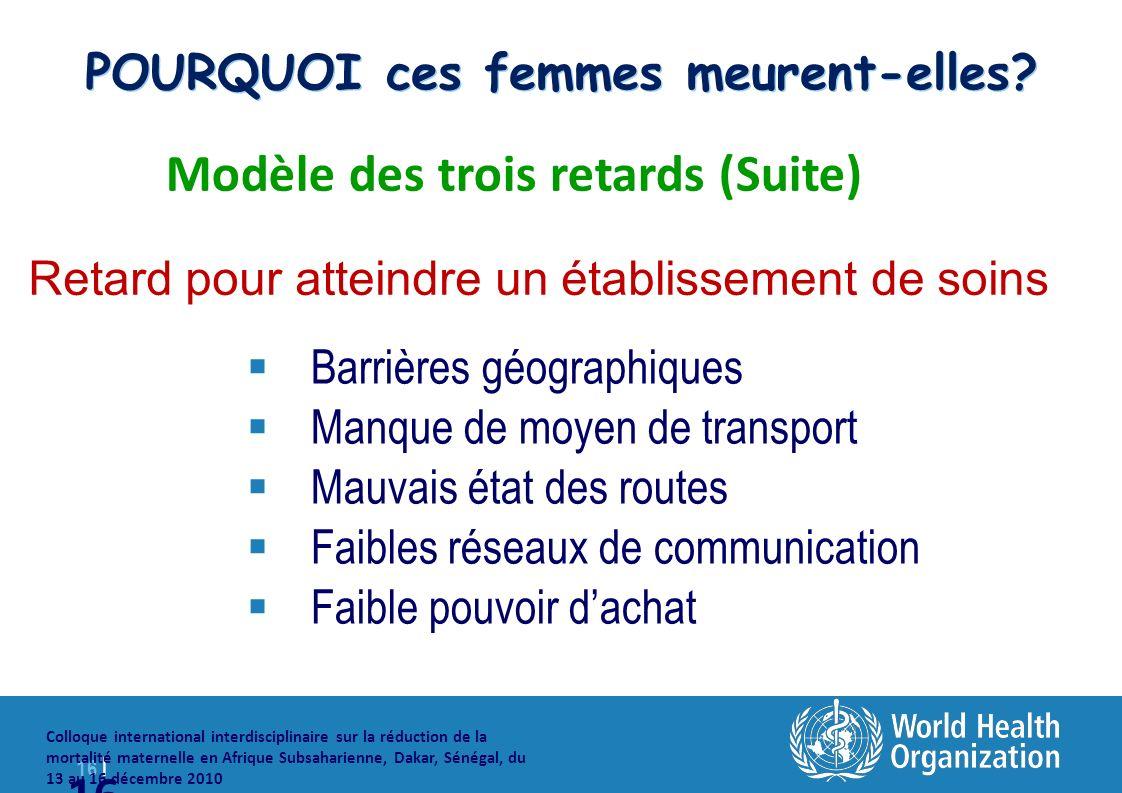 16 | Colloque international interdisciplinaire sur la réduction de la mortalité maternelle en Afrique Subsaharienne, Dakar, Sénégal, du 13 au 16 décembre 2010 16 POURQUOI ces femmes meurent-elles.