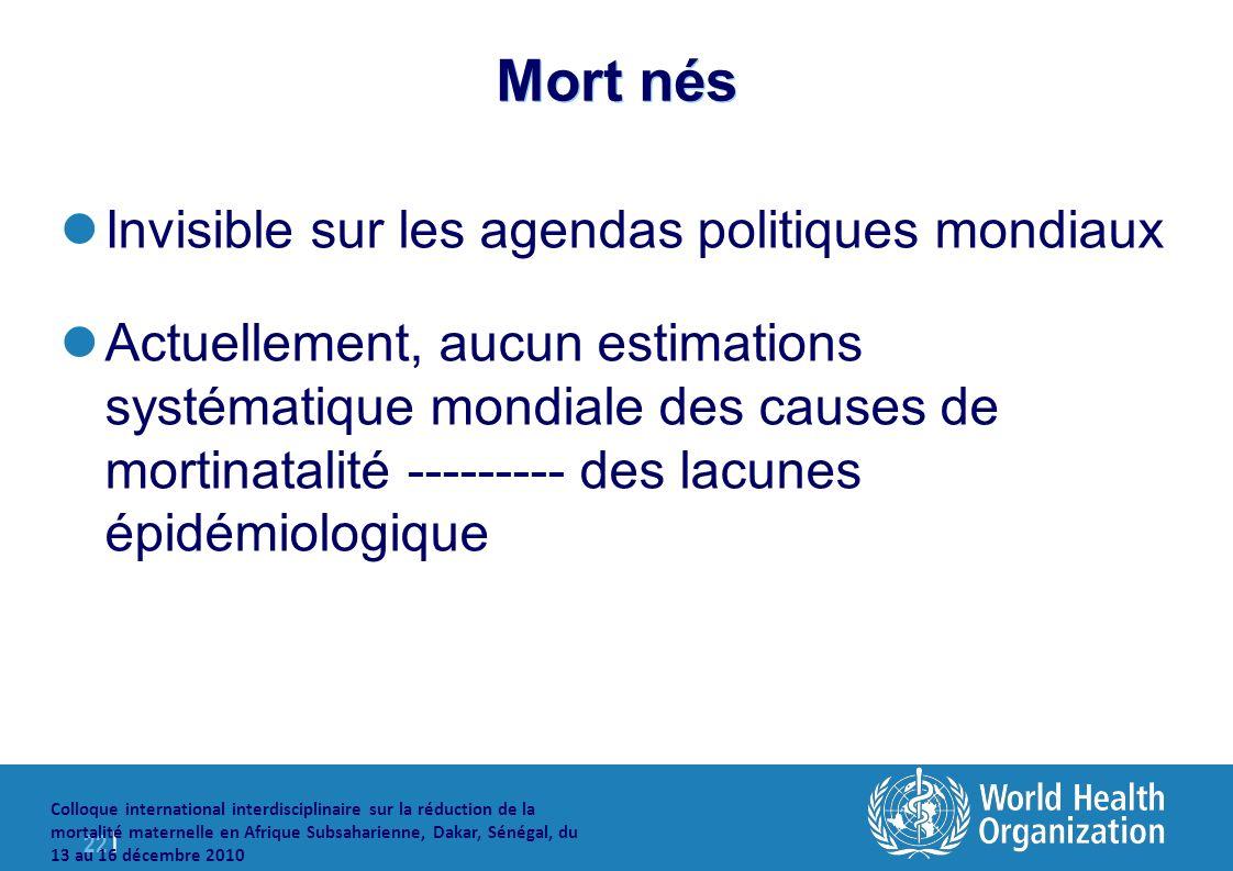 22 | Colloque international interdisciplinaire sur la réduction de la mortalité maternelle en Afrique Subsaharienne, Dakar, Sénégal, du 13 au 16 décembre 2010 Mort nés Invisible sur les agendas politiques mondiaux Actuellement, aucun estimations systématique mondiale des causes de mortinatalité --------- des lacunes épidémiologique