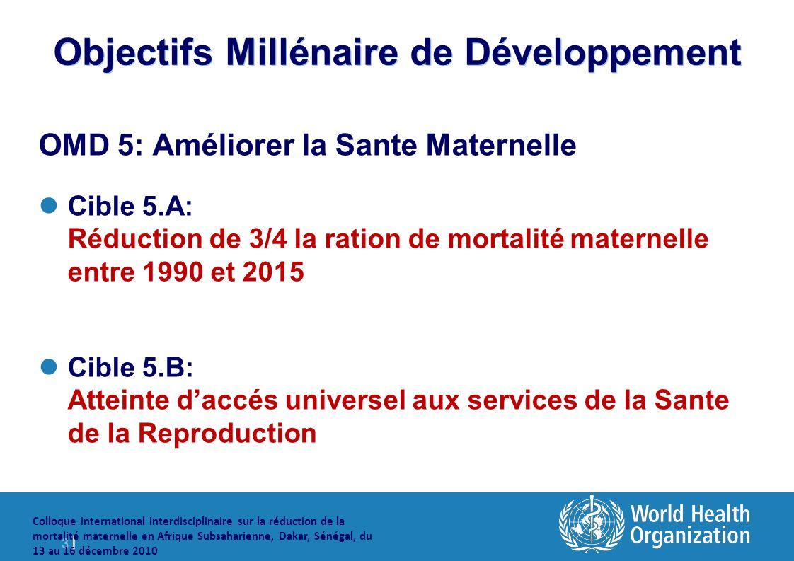 3 |3 | Colloque international interdisciplinaire sur la réduction de la mortalité maternelle en Afrique Subsaharienne, Dakar, Sénégal, du 13 au 16 décembre 2010 Objectifs Millénaire de Développement OMD 5: Améliorer la Sante Maternelle Cible 5.A: Réduction de 3/4 la ration de mortalité maternelle entre 1990 et 2015 Cible 5.B: Atteinte daccés universel aux services de la Sante de la Reproduction