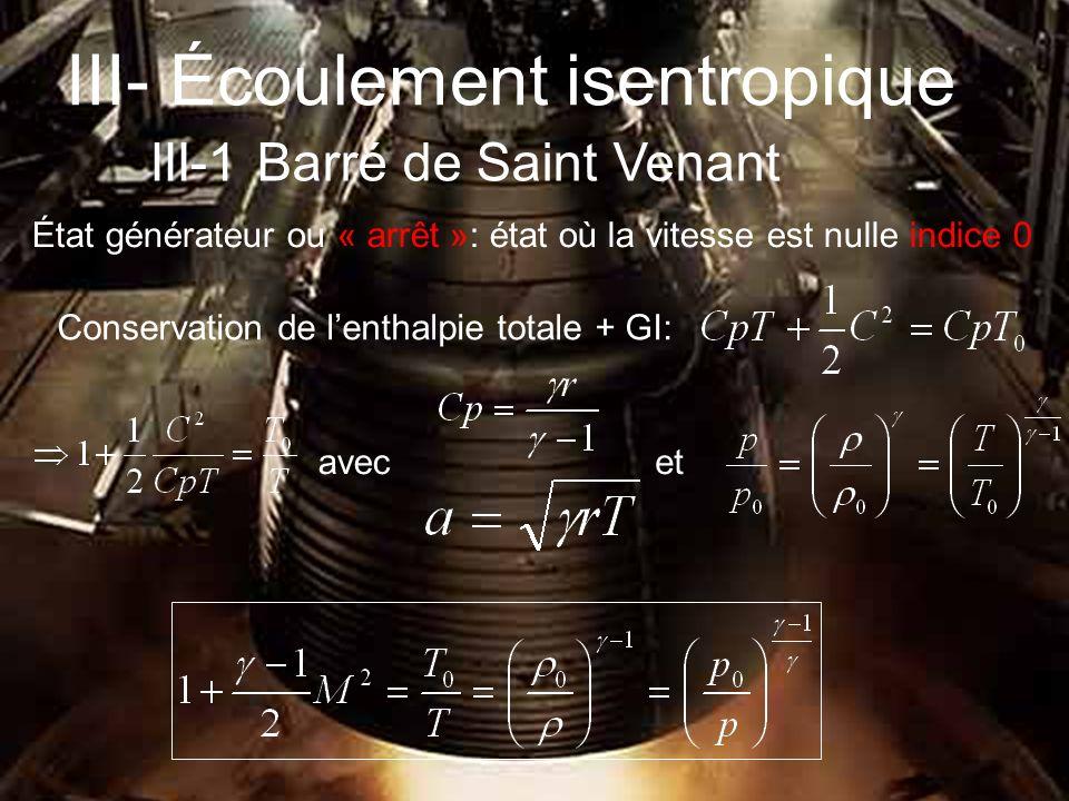 III- Écoulement isentropique III-1 Barré de Saint Venant Conservation de lenthalpie totale + GI: avecet État générateur ou « arrêt »: état où la vitesse est nulle indice 0