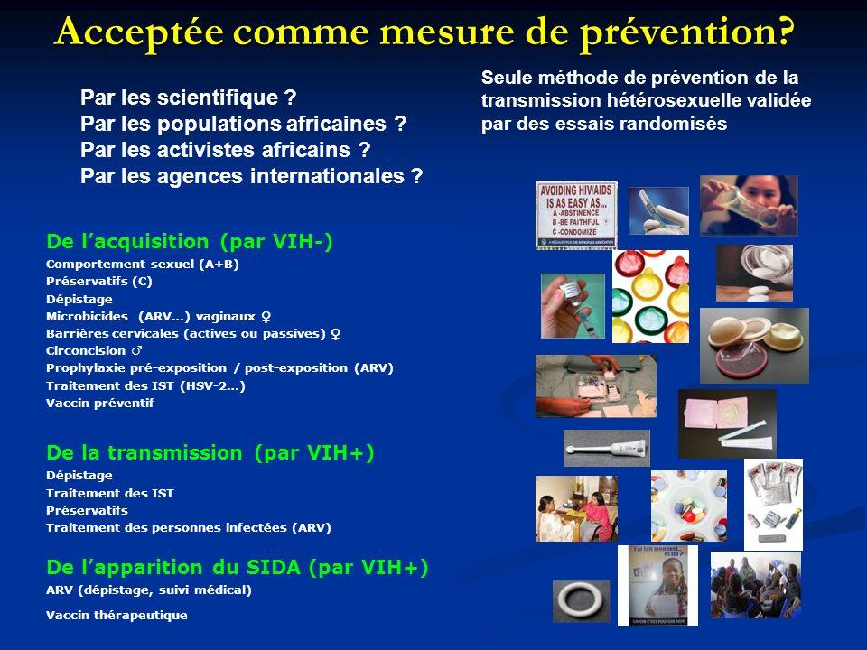 De lacquisition (par VIH-) Comportement sexuel (A+B) Préservatifs (C) Dépistage Microbicides (ARV…) vaginaux Barrières cervicales (actives ou passives) Circoncision Prophylaxie pré-exposition / post-exposition (ARV) Traitement des IST (HSV-2…) Vaccin préventif De la transmission (par VIH+) Dépistage Traitement des IST Préservatifs Traitement des personnes infectées (ARV) De lapparition du SIDA (par VIH+) ARV (dépistage, suivi médical) Vaccin thérapeutique Acceptée comme mesure de prévention.