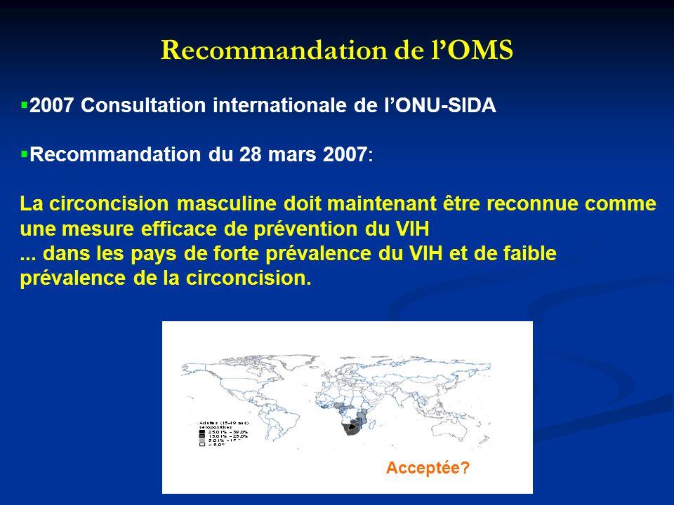 Impact potentiel de la circoncision sur linfection à VIH en Afrique Sub-saharienne Durant les 10 prochaines années, en Afrique Sub-Saharienne, MC pourrait prévenir: 2.0 (1.1-3.8) million de nouvelles infections à VIH (hommes et femmes) 0.3 (0.2-0.5) million de décès prématurés (hommes et femmes) Pour les 10 années suivantes : 3.7 (1.9-7.5) million de nouvelles infections à VIH (hommes et femmes) 2.7 (1.5-5.3) million de décès prématurés (hommes et femmes) Réduction potentielle de 50% de l épidémie africaine .
