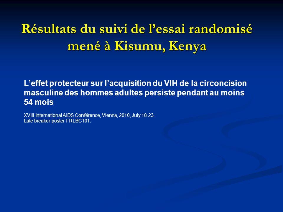 Résultats du suivi de lessai randomisé mené à Kisumu, Kenya Leffet protecteur sur lacquisition du VIH de la circoncision masculine des hommes adultes persiste pendant au moins 54 mois XVIII International AIDS Conférence, Vienna, 2010, July 18-23.