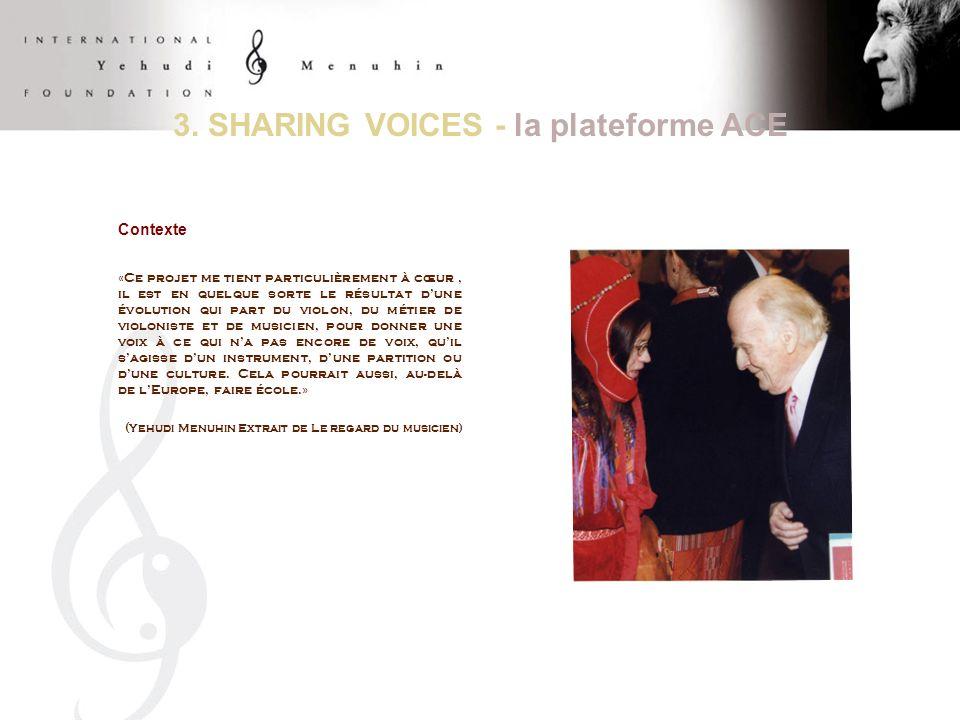 ACE Programme Ambassadeurs Sharing Voices 2008-2010 Programme AMBASSADEURS de lEurope : « SHARING VOICES » un programme à 3 ans qui sinscrit dans lesprit de lAssemblée des Cultures dEurope (ACE) 2008: Moving Voices (les cultures nomades face aux cultures sédentaires en Europe) 2009: Green Voices (les cultures rurales face aux cultures urbaines en Europe) 2010: Voices from the Islands (les cultures isolées face aux cultures dominantes en Europe) Méthodologie: 1 réunion thématique annuelle avec les experts des cultures ACE 2 résidences artistiques par an 1 avant-première au Parlement européen 1 tournée de concerts multiculturels innovants 1 évaluation et 1 production doutils de diffusion