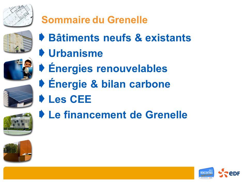 Sommaire du Grenelle Bâtiments neufs & existants Urbanisme Énergies renouvelables Énergie & bilan carbone Les CEE Le financement de Grenelle