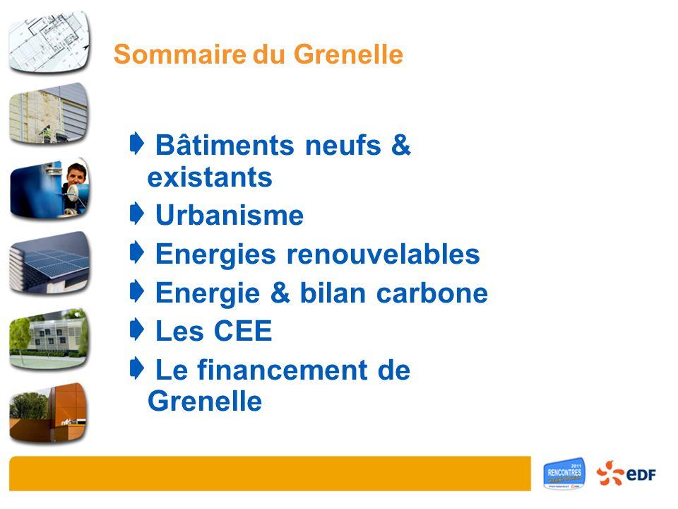 Sommaire du Grenelle Bâtiments neufs & existants Urbanisme Energies renouvelables Energie & bilan carbone Les CEE Le financement de Grenelle