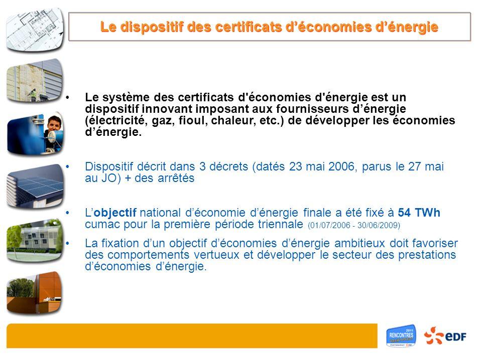 Le système des certificats d'économies d'énergie est un dispositif innovant imposant aux fournisseurs dénergie (électricité, gaz, fioul, chaleur, etc.