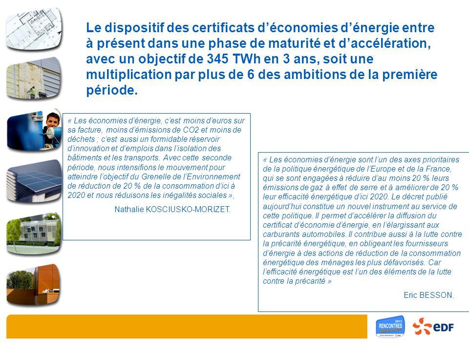 Le dispositif des certificats déconomies dénergie entre à présent dans une phase de maturité et daccélération, avec un objectif de 345 TWh en 3 ans, soit une multiplication par plus de 6 des ambitions de la première période.