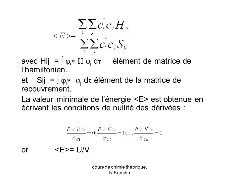 cours de chimie théorique. N.Komiha avec Hij = i j d élément de matrice de lhamiltonien.