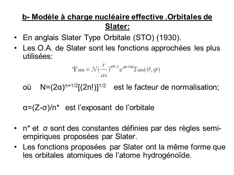b- Modèle à charge nucléaire effective.Orbitales de Slater: En anglais Slater Type Orbitale (STO) (1930).
