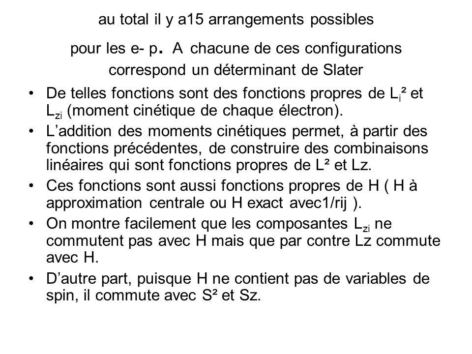 au total il y a15 arrangements possibles pour les e- p.