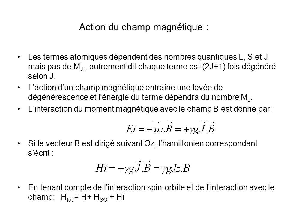 Action du champ magnétique : Les termes atomiques dépendent des nombres quantiques L, S et J mais pas de M J, autrement dit chaque terme est (2J+1) fois dégénéré selon J.