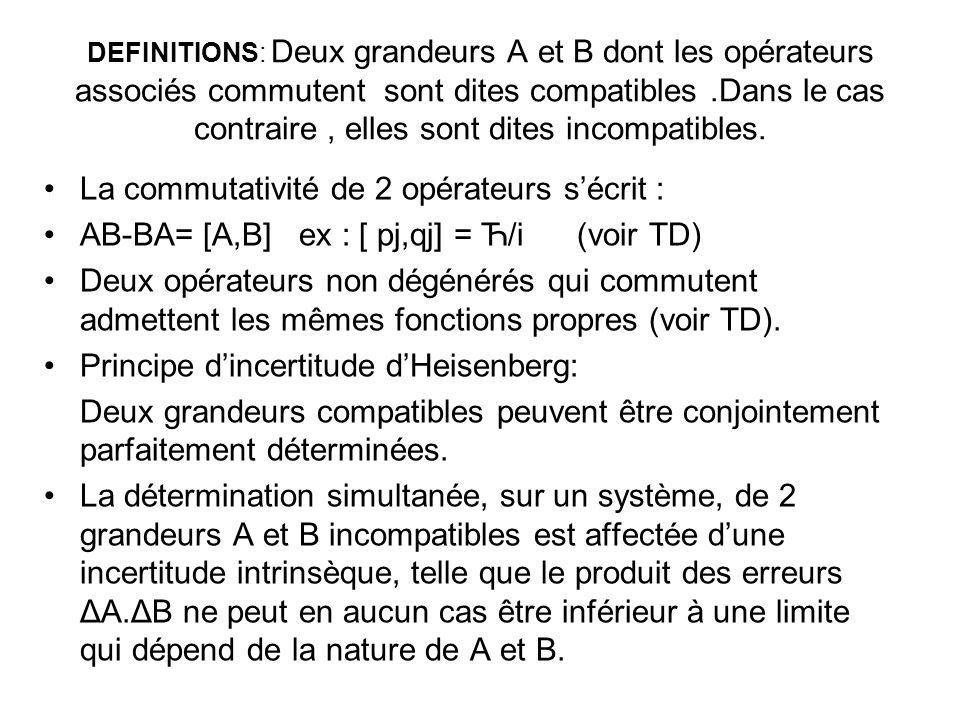 DEFINITIONS: Deux grandeurs A et B dont les opérateurs associés commutent sont dites compatibles.Dans le cas contraire, elles sont dites incompatibles.