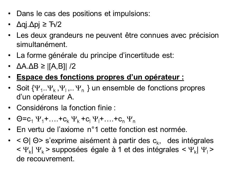Dans le cas des positions et impulsions: Δqj.Δpj Ћ/2 Les deux grandeurs ne peuvent être connues avec précision simultanément.