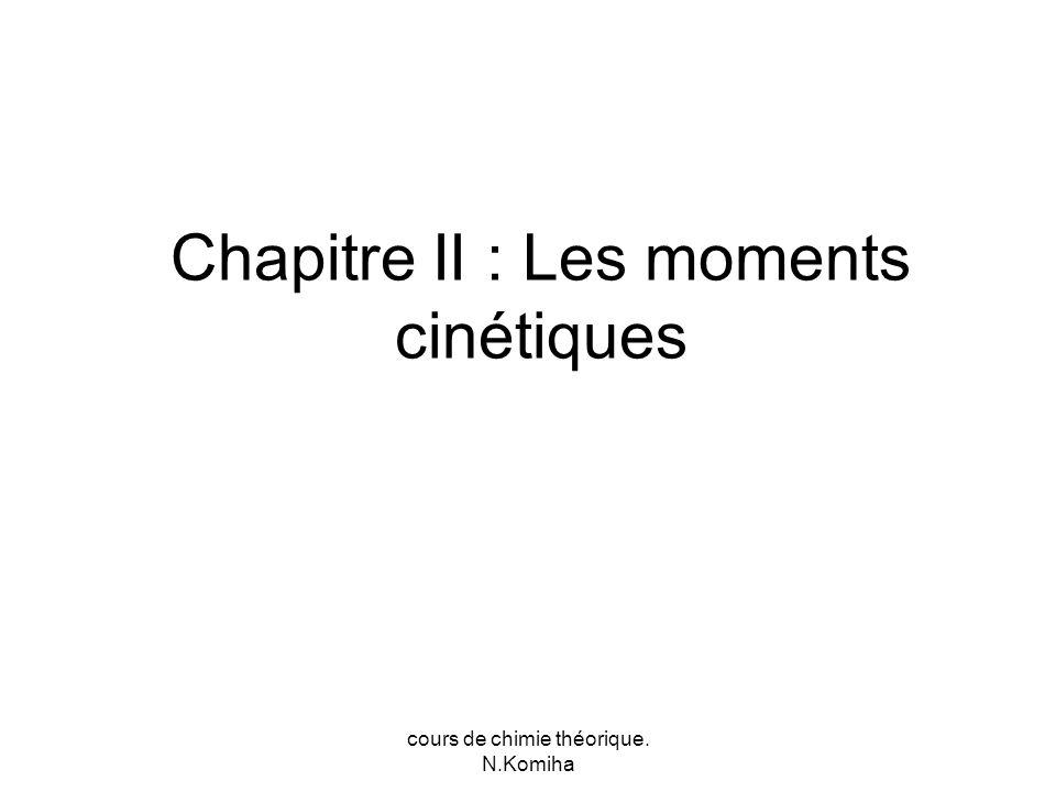 cours de chimie théorique. N.Komiha Chapitre II : Les moments cinétiques