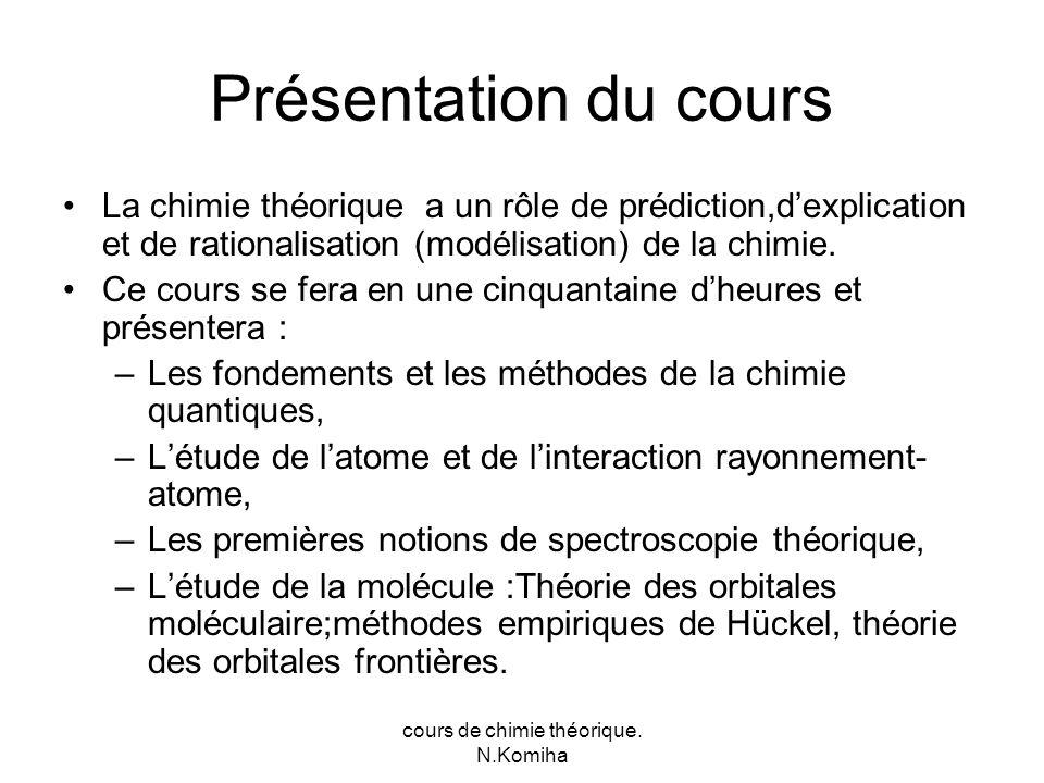 Présentation du cours La chimie théorique a un rôle de prédiction,dexplication et de rationalisation (modélisation) de la chimie.