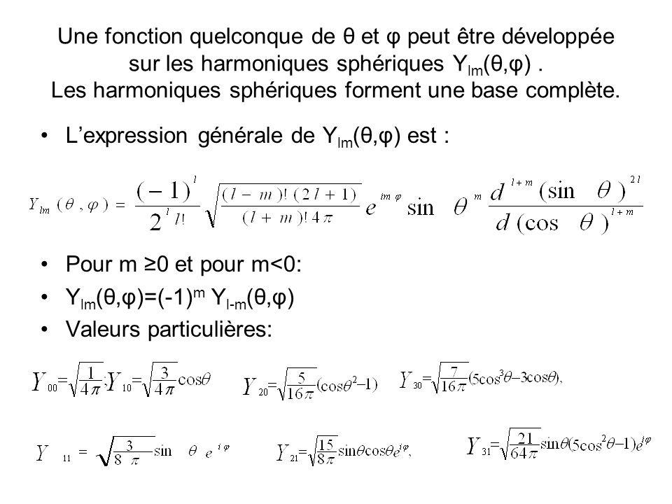 Une fonction quelconque de θ et φ peut être développée sur les harmoniques sphériques Y lm (θ,φ).
