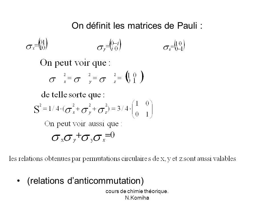 cours de chimie théorique. N.Komiha On définit les matrices de Pauli : (relations danticommutation)