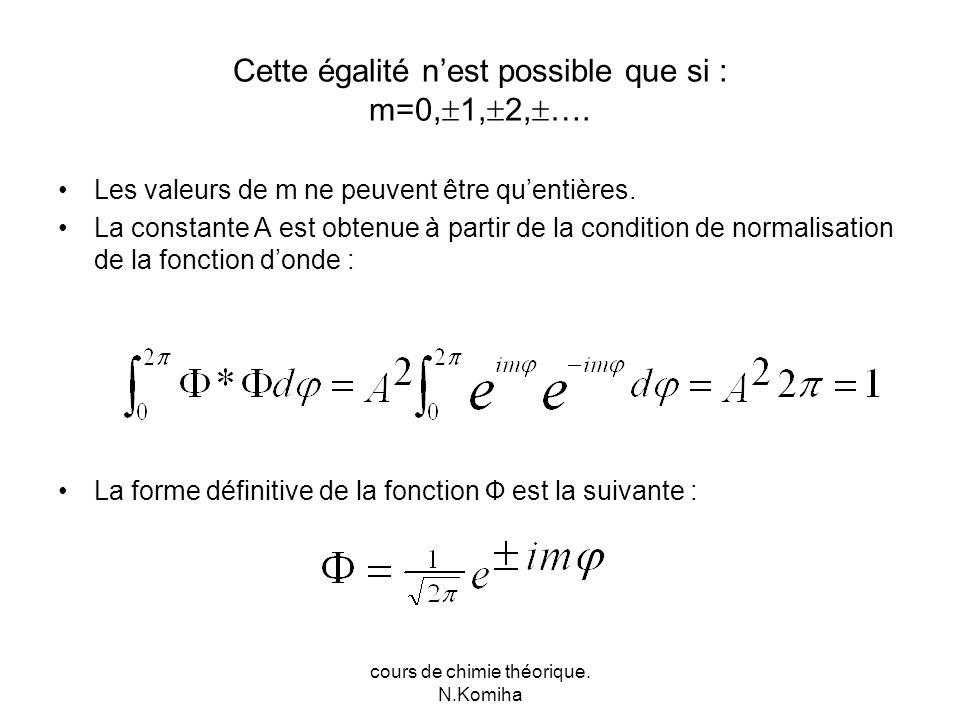 cours de chimie théorique. N.Komiha Cette égalité nest possible que si : m=0, 1, 2, ….