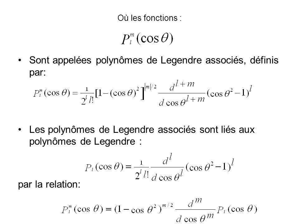 Où les fonctions : Sont appelées polynômes de Legendre associés, définis par: Les polynômes de Legendre associés sont liés aux polynômes de Legendre : par la relation: