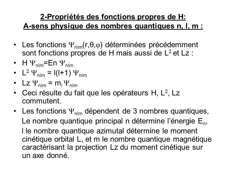 2-Propriétés des fonctions propres de H: A-sens physique des nombres quantiques n, l, m : Les fonctions nlm (r,θ, ) déterminées précédemment sont fonctions propres de H mais aussi de L 2 et Lz : H nlm =En nlm L 2 nlm = l(l+1) nlm Lz nlm = m l nlm Ceci résulte du fait que les opérateurs H, L 2, Lz commutent.