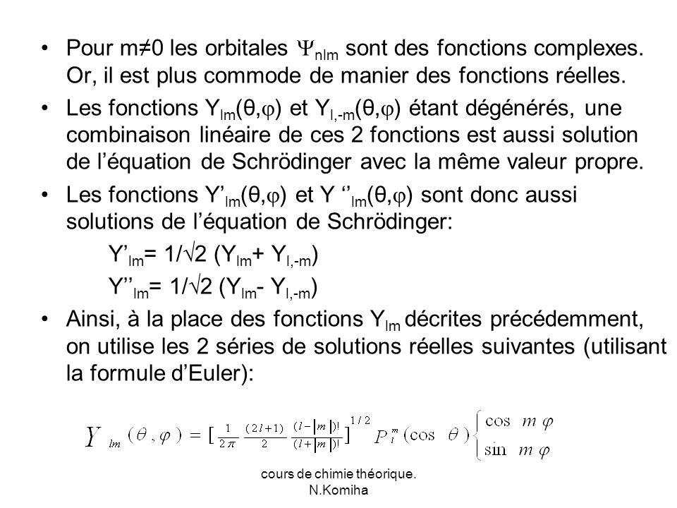 cours de chimie théorique. N.Komiha Pour m0 les orbitales nlm sont des fonctions complexes.