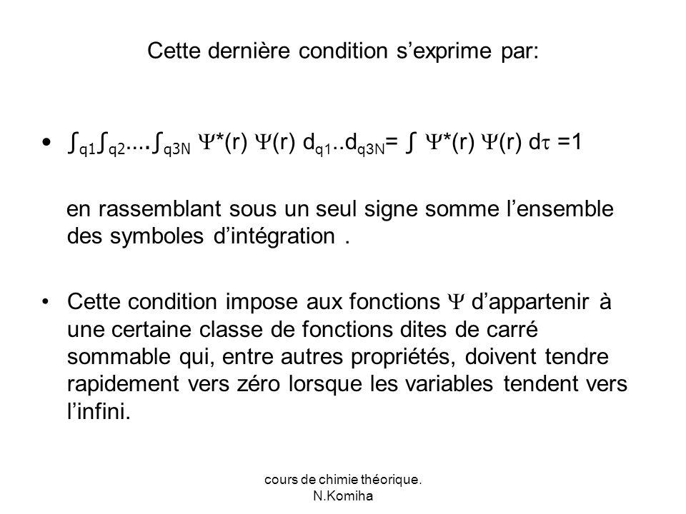 cours de chimie théorique. N.Komiha Cette dernière condition sexprime par: q1 q2 ….