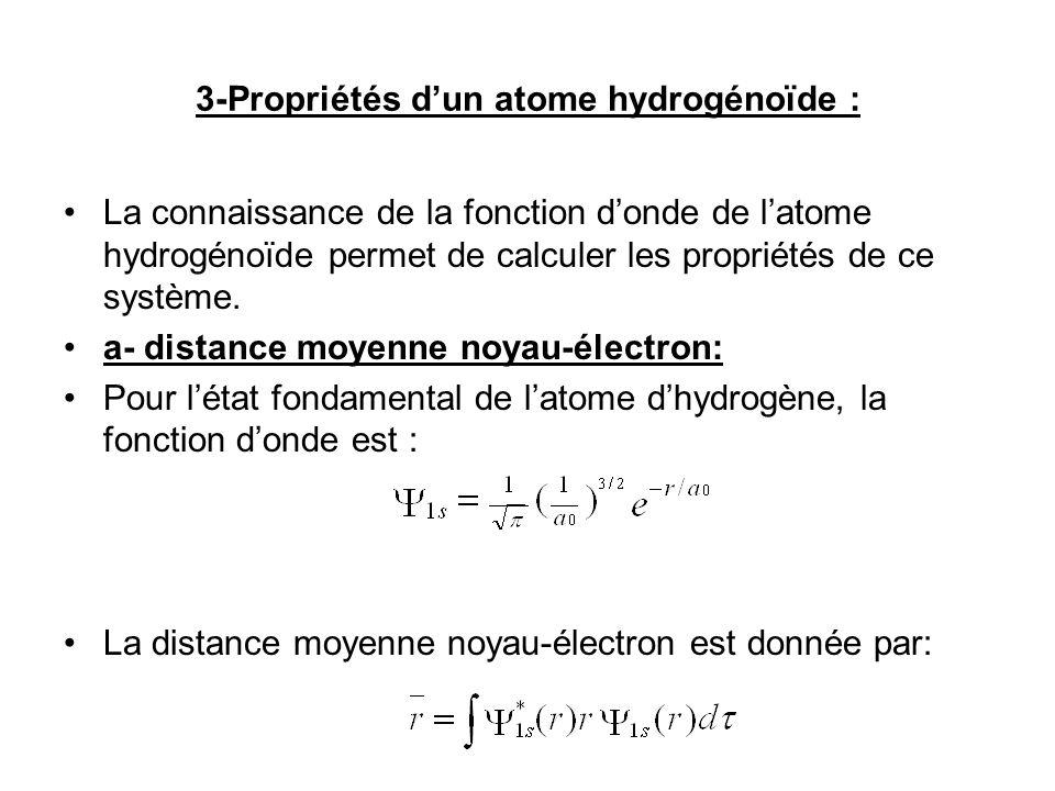 3-Propriétés dun atome hydrogénoïde : La connaissance de la fonction donde de latome hydrogénoïde permet de calculer les propriétés de ce système.