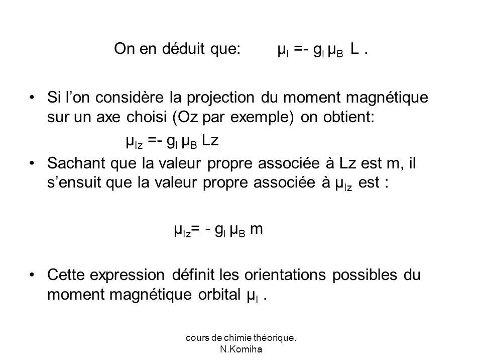 cours de chimie théorique. N.Komiha On en déduit que: μ I =- g l μ B L.