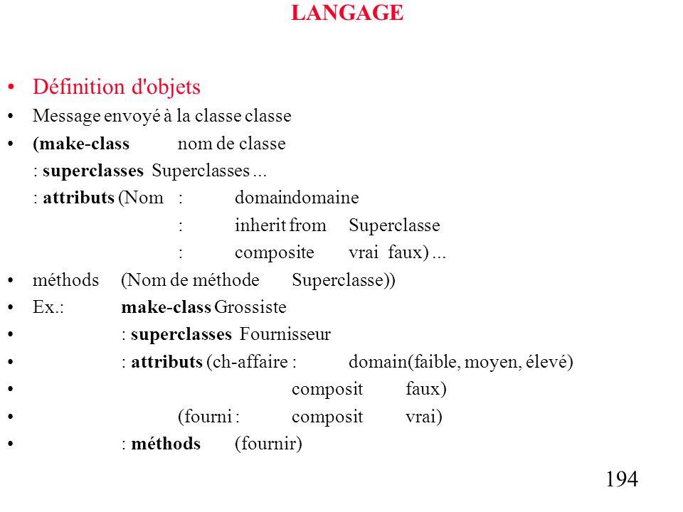 194 LANGAGE Définition d objets Message envoyé à la classe classe (make-classnom de classe : superclasses Superclasses...