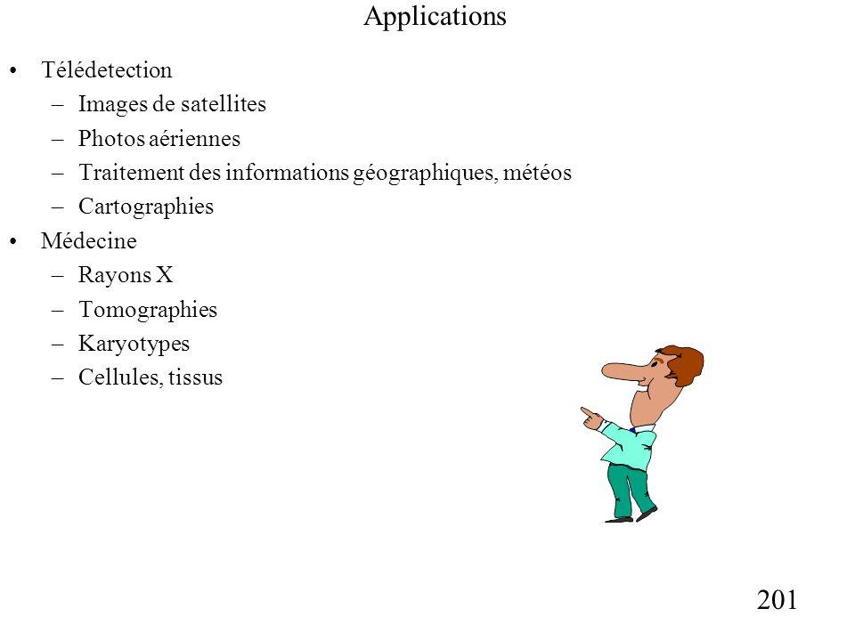 201 Applications Télédetection –Images de satellites –Photos aériennes –Traitement des informations géographiques, météos –Cartographies Médecine –Rayons X –Tomographies –Karyotypes –Cellules, tissus