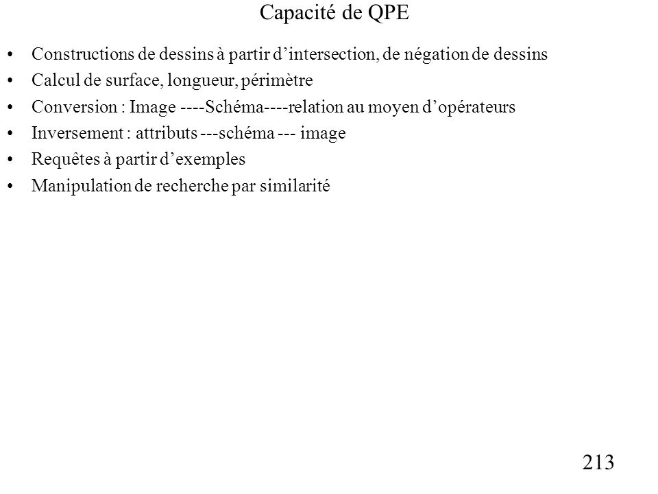 213 Capacité de QPE Constructions de dessins à partir dintersection, de négation de dessins Calcul de surface, longueur, périmètre Conversion : Image ----Schéma----relation au moyen dopérateurs Inversement : attributs ---schéma --- image Requêtes à partir dexemples Manipulation de recherche par similarité