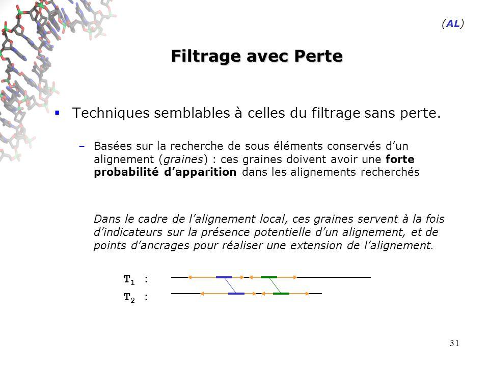 31 Filtrage avec Perte Techniques semblables à celles du filtrage sans perte.