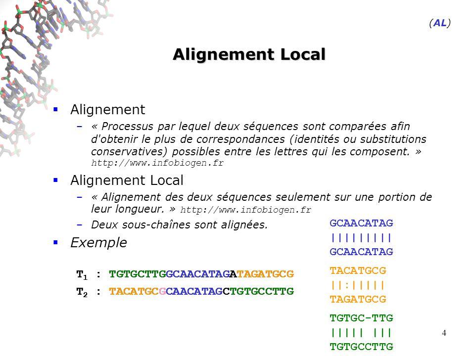 4 Alignement Local Alignement –« Processus par lequel deux séquences sont comparées afin d obtenir le plus de correspondances (identités ou substitutions conservatives) possibles entre les lettres qui les composent.