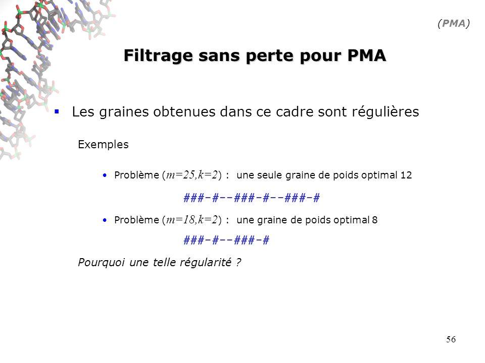 56 Filtrage sans perte pour PMA Les graines obtenues dans ce cadre sont régulières Exemples Problème ( m=25,k=2 ) : une seule graine de poids optimal 12 Problème ( m=18,k=2 ) : une graine de poids optimal 8 Pourquoi une telle régularité .