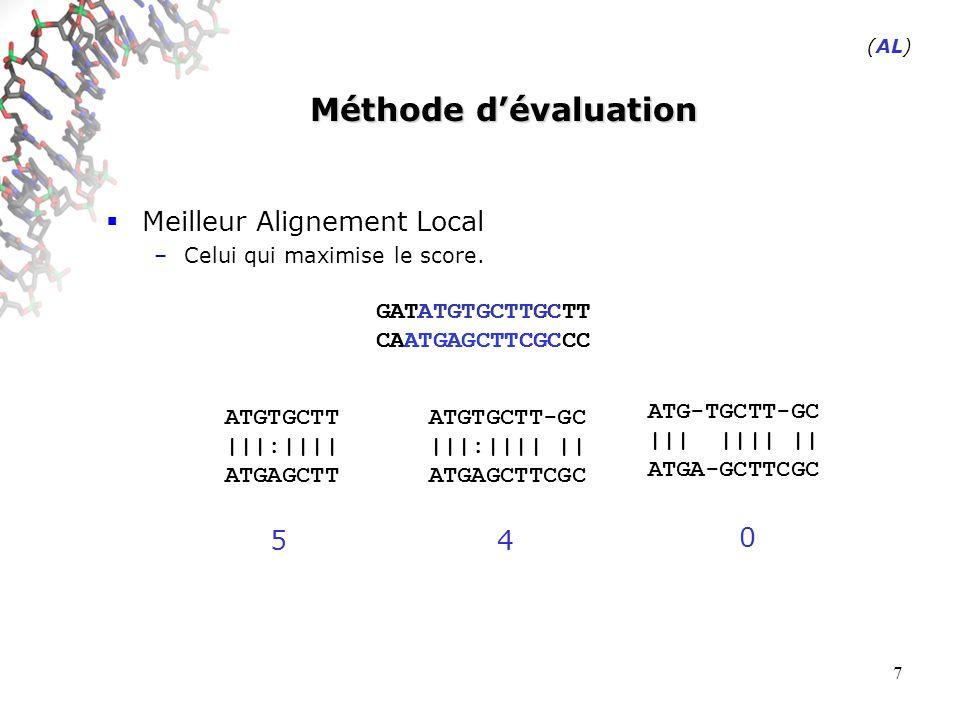 38 Sensibilité des différentes approches Modèle choisi : Alignements étalons –Alignements sans gaps (pas dindels dans lalignement) –Utiliser un système de score courant (celui de BLAST) +1/-3 (match/mismatch) Paramètres proposés –Fixer une valeur pour le score des séquences générées –Faire varier la longueur de lalignement (abscisse).