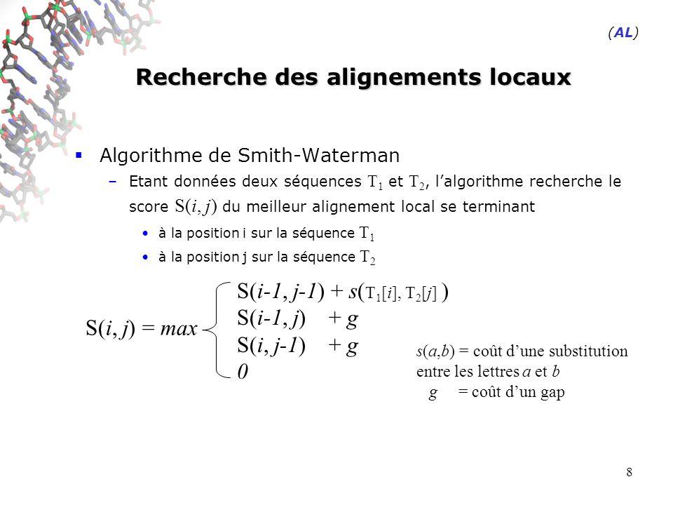 8 Recherche des alignements locaux Algorithme de Smith-Waterman –Etant données deux séquences T 1 et T 2, lalgorithme recherche le score S(i, j) du meilleur alignement local se terminant à la position i sur la séquence T 1 à la position j sur la séquence T 2 S(i, j) = max S(i-1, j-1) + s( T 1 [i], T 2 [j] ) S(i-1, j) + g S(i, j-1) + g 0 s(a,b) = coût dune substitution entre les lettres a et b g = coût dun gap (AL)