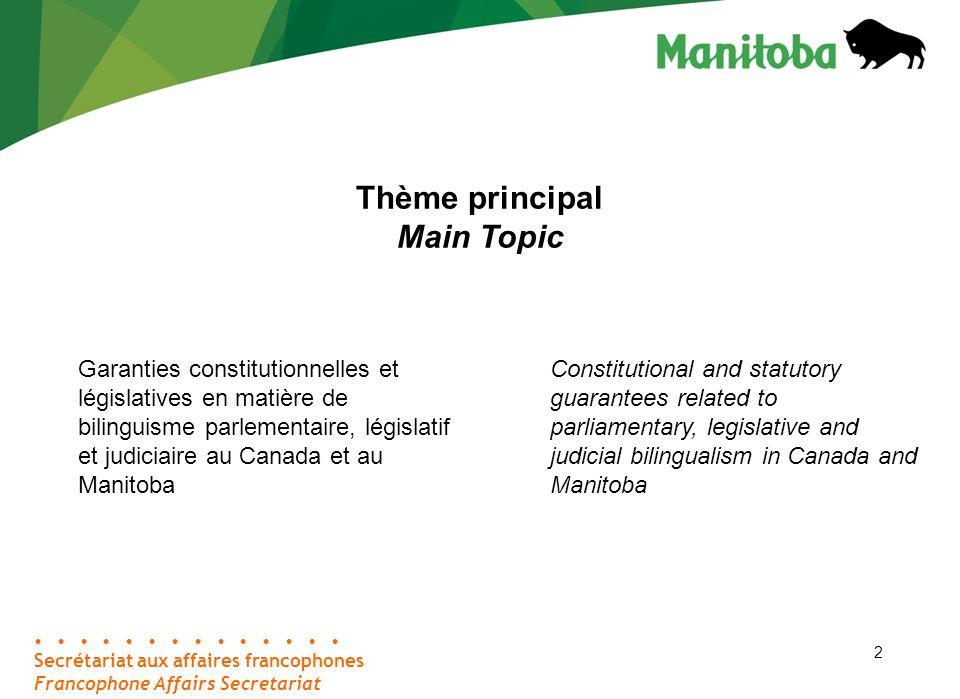 23 1980 – 1983 (suite / contd) Étant donné la possibilité réelle que la Cour suprême déclare invalides les lois unilingues anglaises, le gouvernement du Manitoba, le gouvernement du Canada et la Société franco- manitobaine négocient une entente.