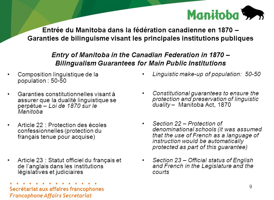 9 Secrétariat aux affaires francophones Francophone Affairs Secretariat Entrée du Manitoba dans la fédération canadienne en 1870 – Garanties de bilinguisme visant les principales institutions publiques Entry of Manitoba in the Canadian Federation in 1870 – Bilingualism Guarantees for Main Public Institutions Composition linguistique de la population : 50-50 Garanties constitutionnelles visant à assurer que la dualité linguistique se perpétue – Loi de 1870 sur le Manitoba Article 22 : Protection des écoles confessionnelles (protection du français tenue pour acquise) Article 23 : Statut officiel du français et de langlais dans les institutions législatives et judiciaires Linguistic make-up of population: 50-50 Constitutional guarantees to ensure the protection and preservation of linguistic duality – Manitoba Act, 1870 Section 22 – Protection of denominational schools (it was assumed that the use of French as a language of instruction would be automatically protected as part of this guarantee) Section 23 – Official status of English and French in the Legislature and the courts 9
