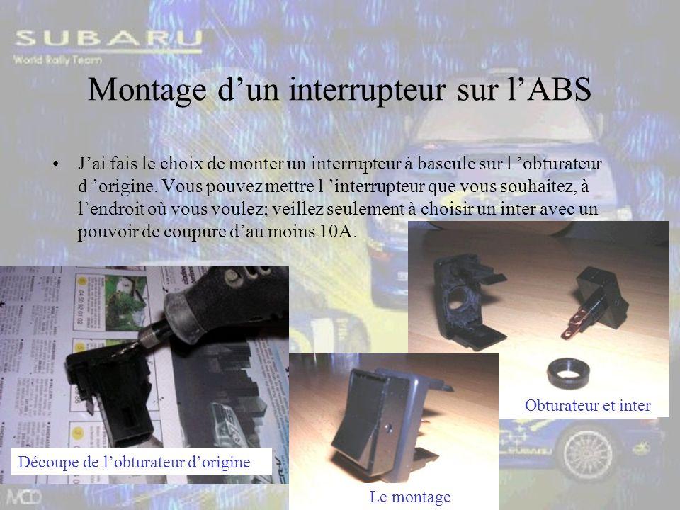 Montage dun interrupteur sur lABS Jai fais le choix de monter un interrupteur à bascule sur l obturateur d origine.