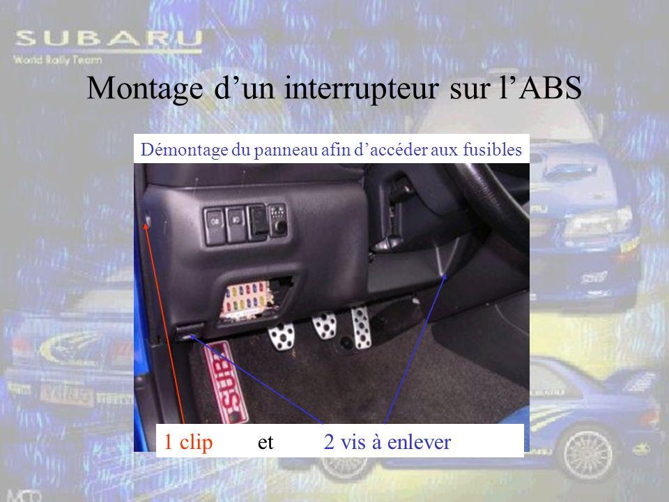 Montage dun interrupteur sur lABS 1 clip et 2 vis à enlever Démontage du panneau afin daccéder aux fusibles