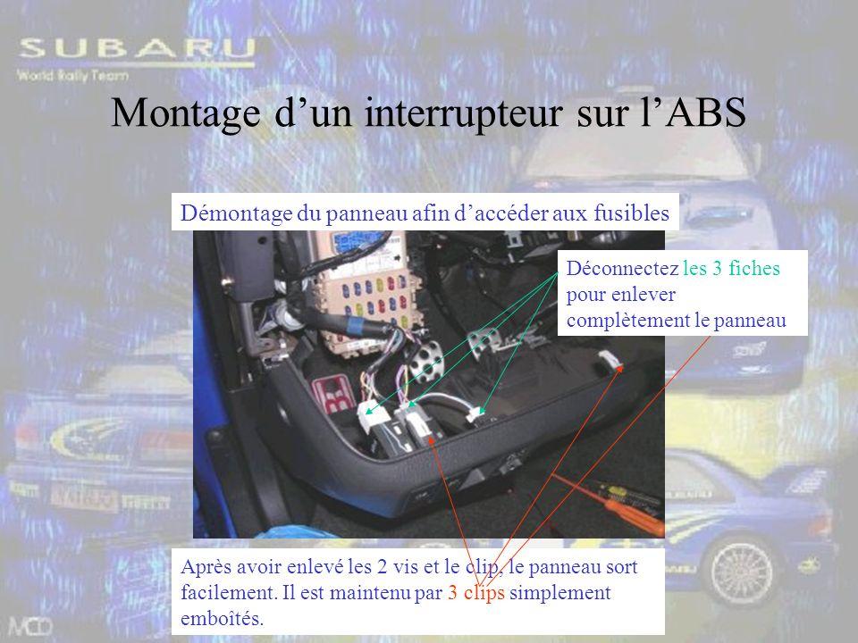 Montage dun interrupteur sur lABS Démontage du panneau afin daccéder aux fusibles Après avoir enlevé les 2 vis et le clip, le panneau sort facilement.